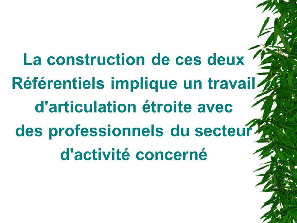 La construction de ces deux Référentiels implique un travail d'articulation étroite avec des professionnels du secteur d'activité concerné
