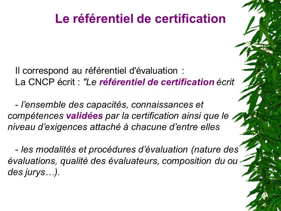 Il correspond au référentiel d'évaluation : La CNCP écrit :