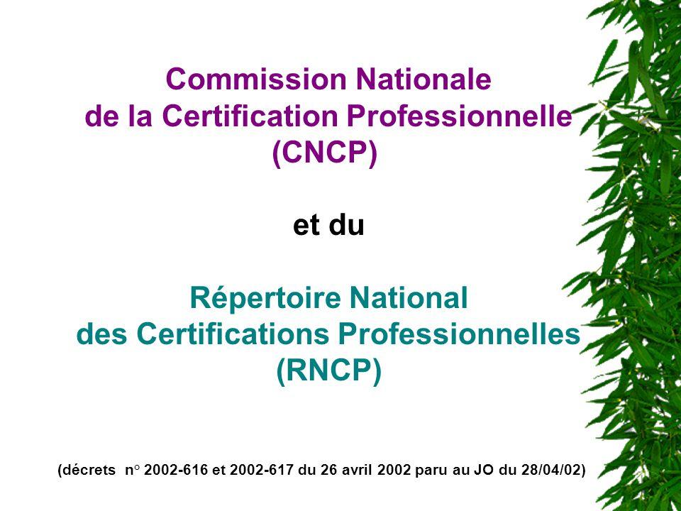 Commission Nationale de la Certification Professionnelle (CNCP) et du Répertoire National des Certifications Professionnelles (RNCP) (décrets n° 2002-