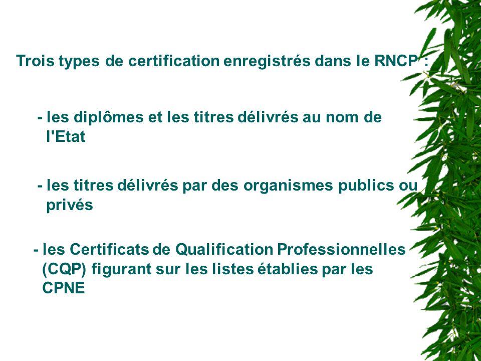 Trois types de certification enregistrés dans le RNCP : - les diplômes et les titres délivrés au nom de l'Etat - les titres délivrés par des organisme