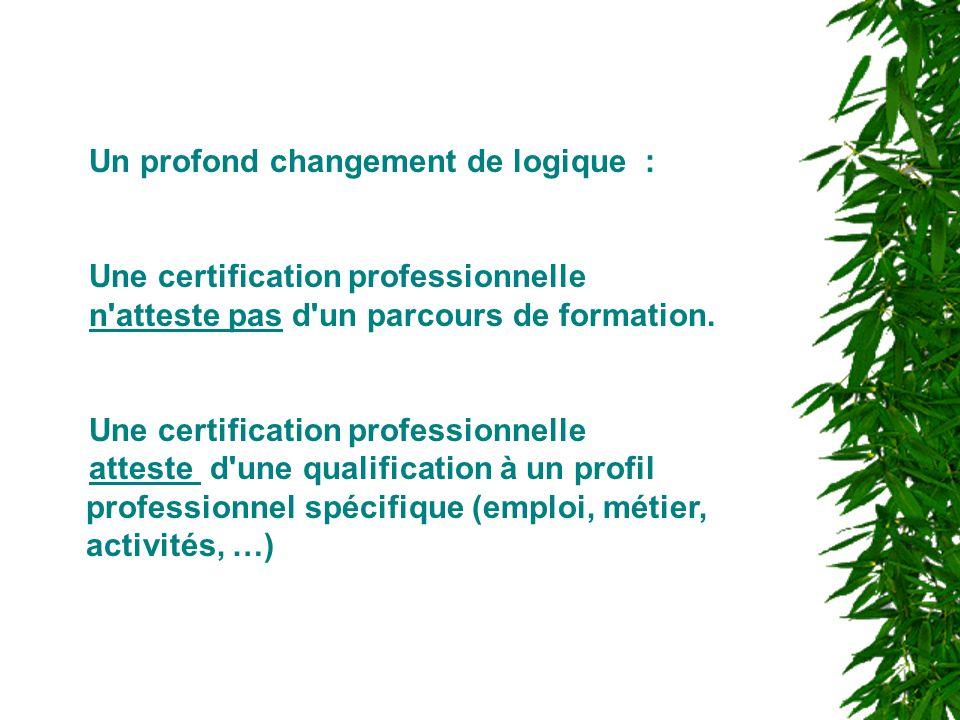 Un profond changement de logique : Une certification professionnelle n'atteste pas d'un parcours de formation. Une certification professionnelle attes