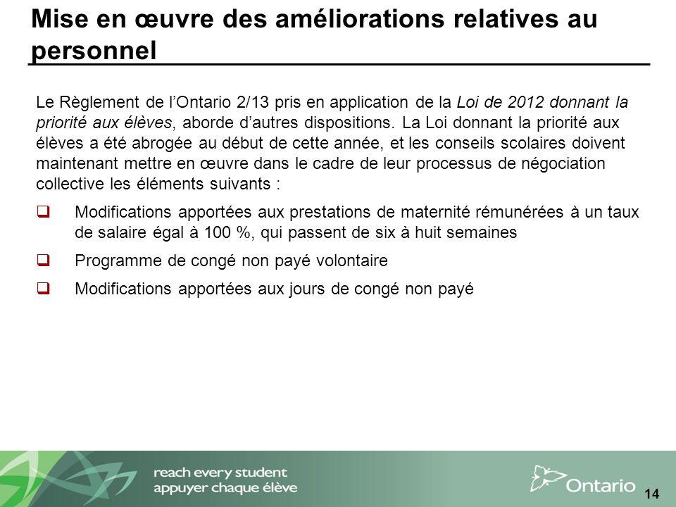 Mise en œuvre des améliorations relatives au personnel Le Règlement de lOntario 2/13 pris en application de la Loi de 2012 donnant la priorité aux élèves, aborde dautres dispositions.