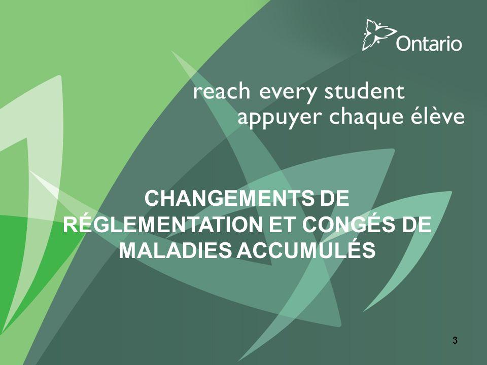 CHANGEMENTS DE RÉGLEMENTATION ET CONGÉS DE MALADIES ACCUMULÉS 3