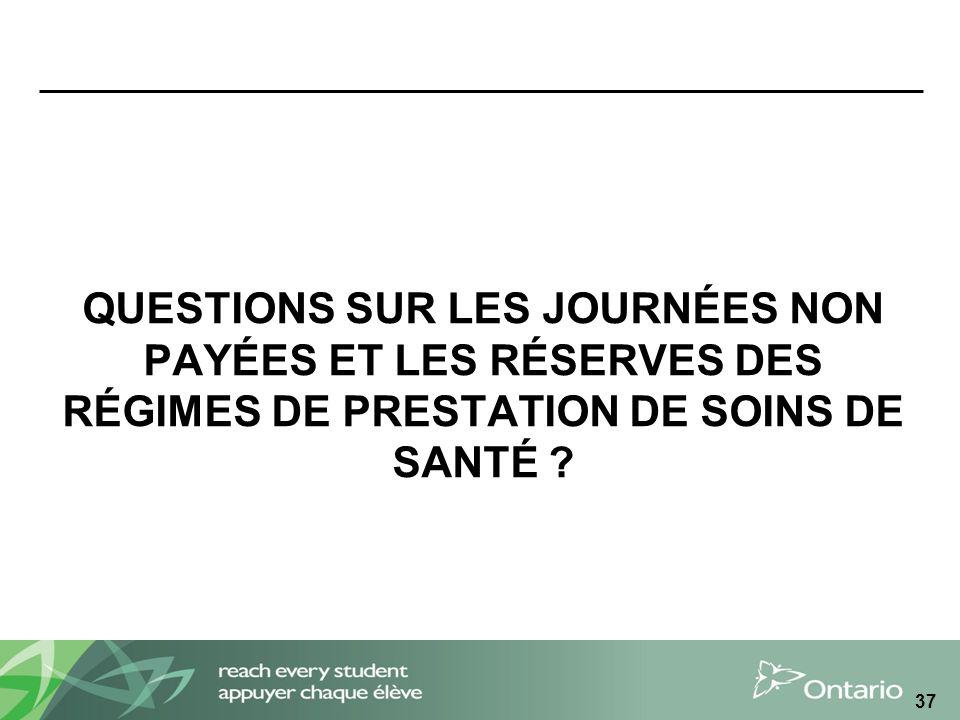 QUESTIONS SUR LES JOURNÉES NON PAYÉES ET LES RÉSERVES DES RÉGIMES DE PRESTATION DE SOINS DE SANTÉ .