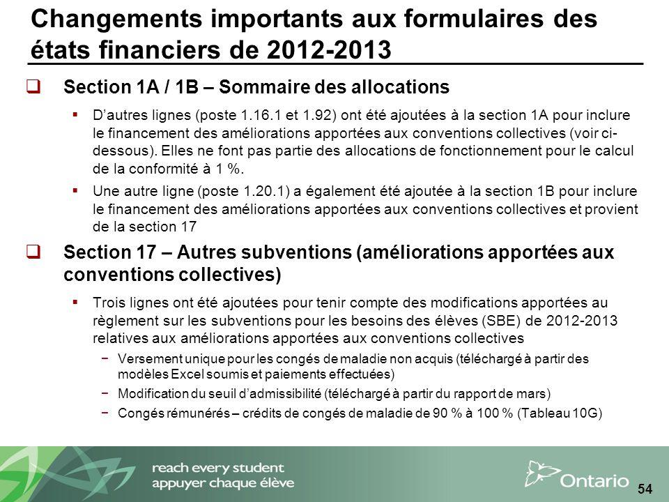 Changements importants aux formulaires des états financiers de 2012-2013 Section 1A / 1B – Sommaire des allocations Dautres lignes (poste 1.16.1 et 1.92) ont été ajoutées à la section 1A pour inclure le financement des améliorations apportées aux conventions collectives (voir ci- dessous).