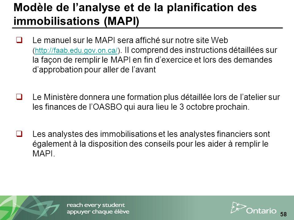 Modèle de lanalyse et de la planification des immobilisations (MAPI) Le manuel sur le MAPI sera affiché sur notre site Web (http://faab.edu.gov.on.ca/).