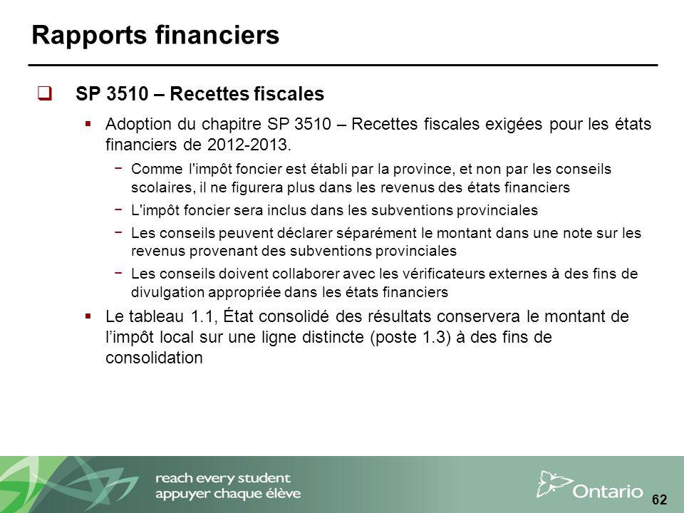 Rapports financiers SP 3510 – Recettes fiscales Adoption du chapitre SP 3510 – Recettes fiscales exigées pour les états financiers de 2012-2013.