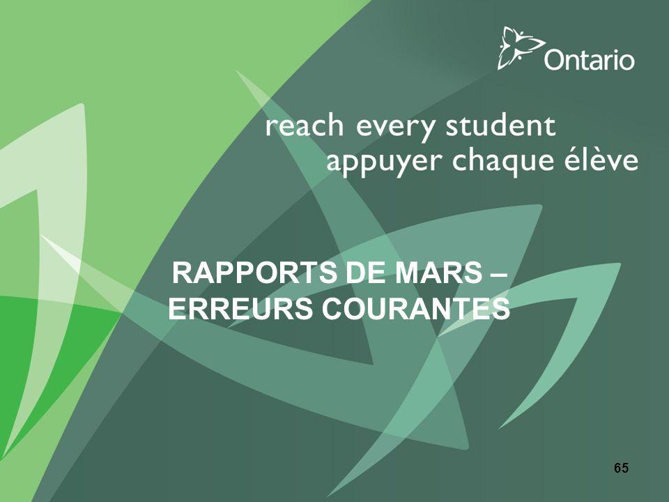 RAPPORTS DE MARS – ERREURS COURANTES 65
