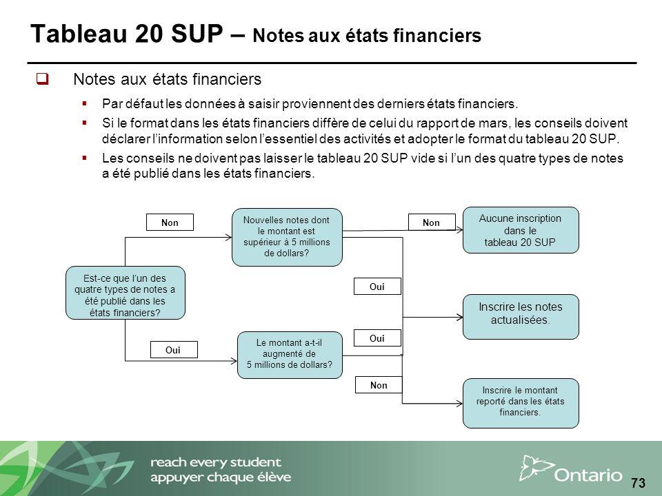 Tableau 20 SUP – Notes aux états financiers Notes aux états financiers Par défaut les données à saisir proviennent des derniers états financiers.