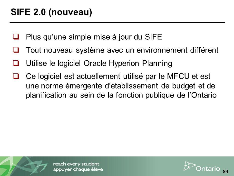 SIFE 2.0 (nouveau) Plus quune simple mise à jour du SIFE Tout nouveau système avec un environnement différent Utilise le logiciel Oracle Hyperion Planning Ce logiciel est actuellement utilisé par le MFCU et est une norme émergente détablissement de budget et de planification au sein de la fonction publique de lOntario 84