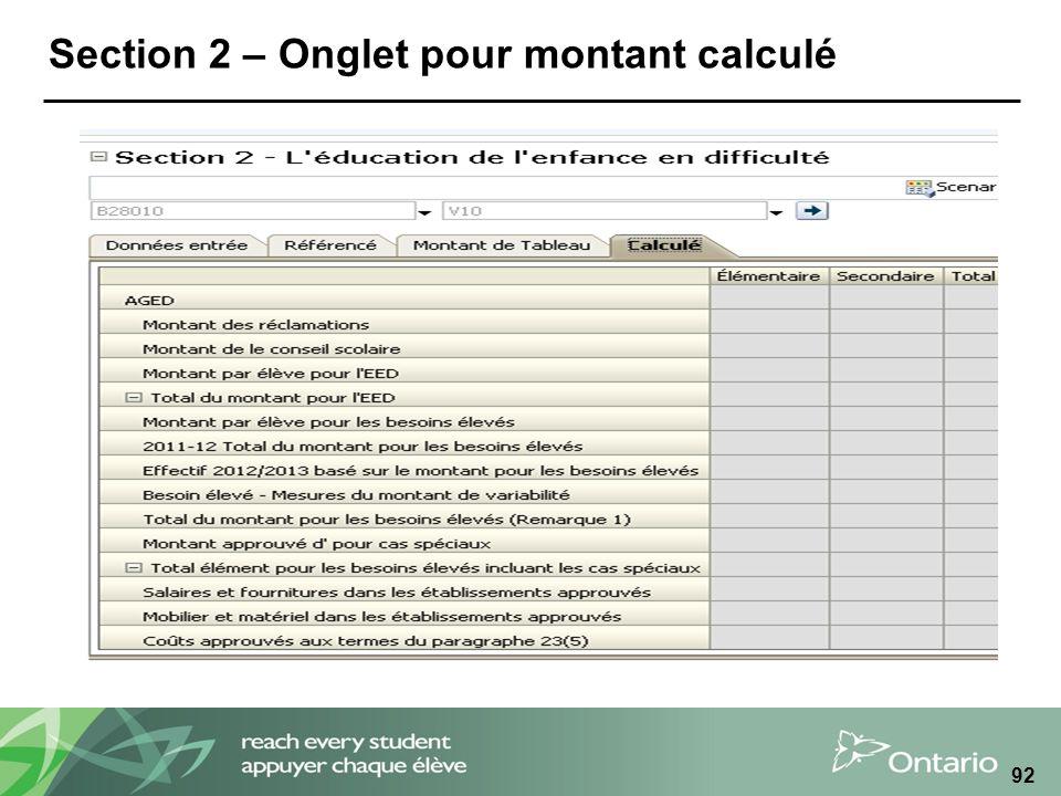 Section 2 – Onglet pour montant calculé 92