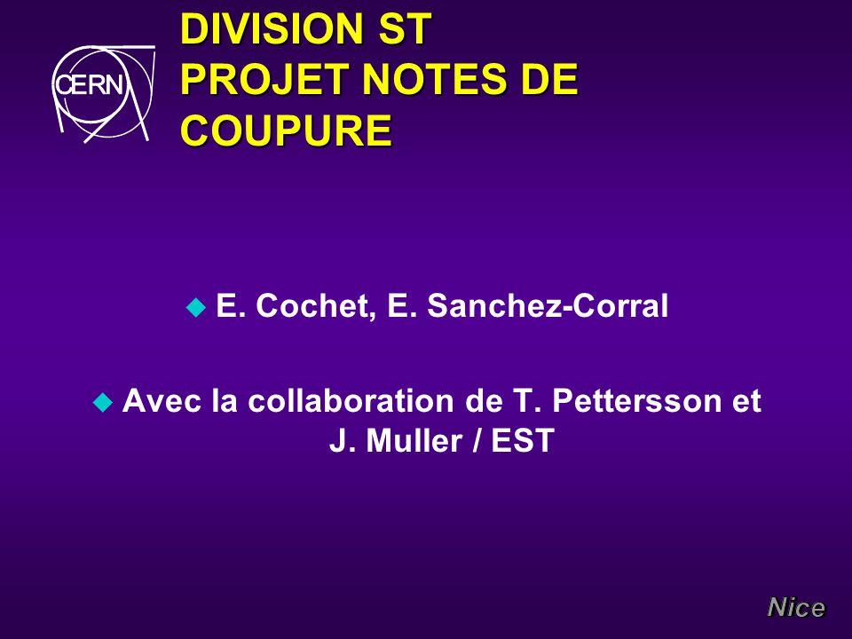 DIVISION ST PROJET NOTES DE COUPURE u E. Cochet, E.