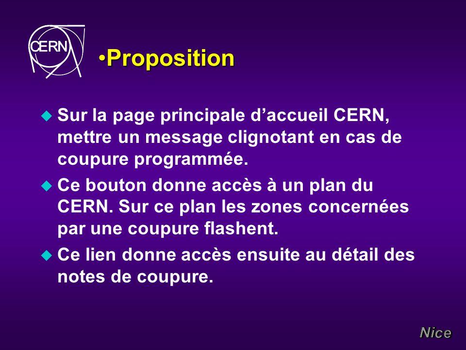 PropositionProposition u Sur la page principale daccueil CERN, mettre un message clignotant en cas de coupure programmée.