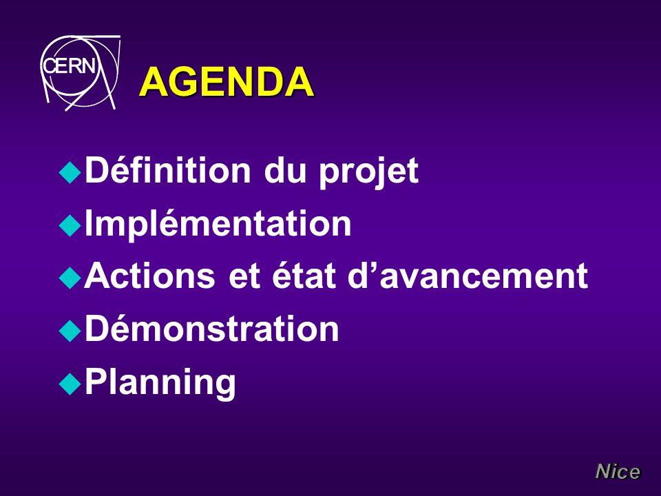 AGENDA u Définition du projet u Implémentation u Actions et état davancement u Démonstration u Planning