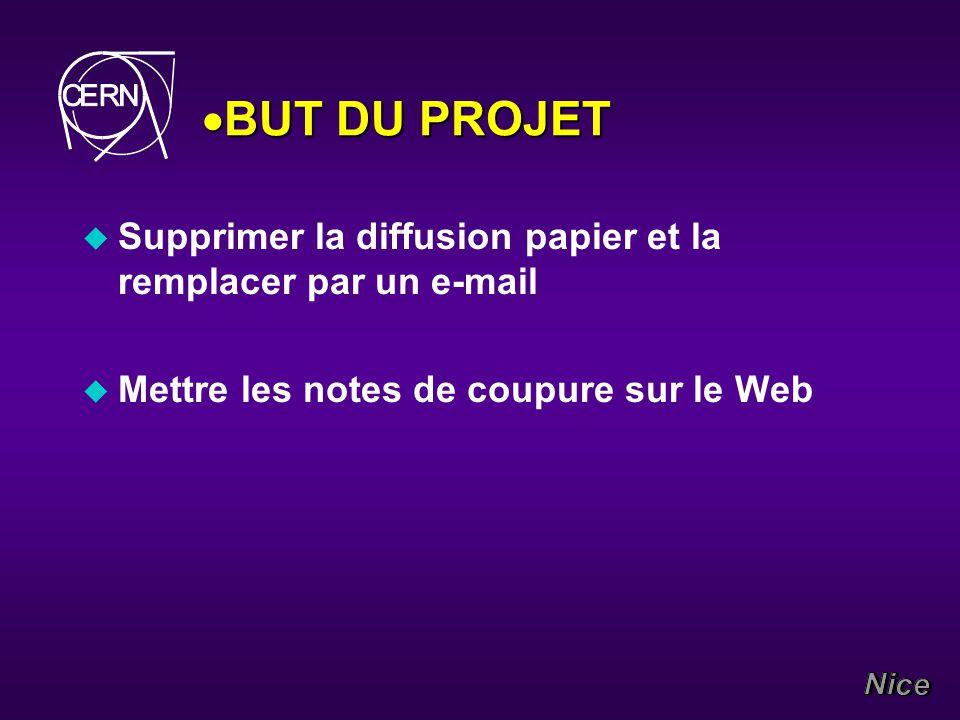 BUT DU PROJET BUT DU PROJET u Supprimer la diffusion papier et la remplacer par un e-mail u Mettre les notes de coupure sur le Web