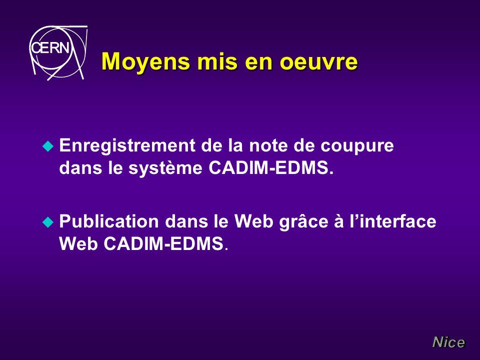 Moyens mis en oeuvre u Enregistrement de la note de coupure dans le système CADIM-EDMS.