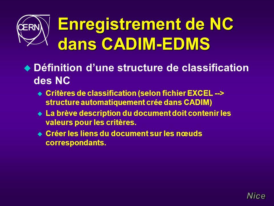 Enregistrement de NC dans CADIM-EDMS u Définition dune structure de classification des NC u Critères de classification (selon fichier EXCEL --> structure automatiquement crée dans CADIM) u La brève description du document doit contenir les valeurs pour les critères.