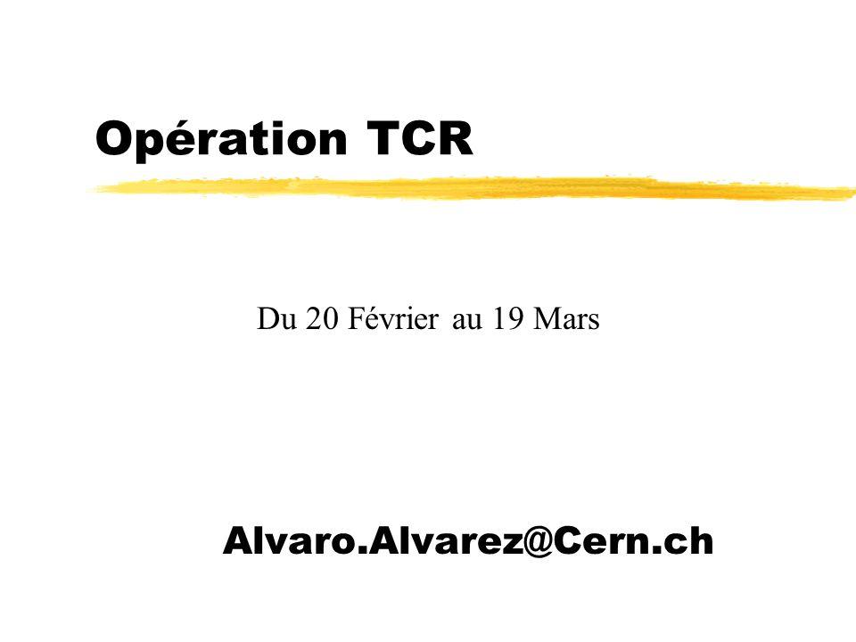 Opération TCR Alvaro.Alvarez@Cern.ch Du 20 Février au 19 Mars