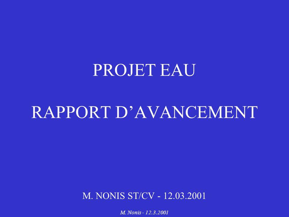 M. Nonis - 12.3.2001 PROJET EAU RAPPORT DAVANCEMENT M. NONIS ST/CV - 12.03.2001