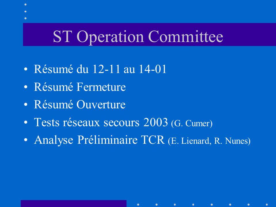 ST Operation Committee Résumé du 12-11 au 14-01 Résumé Fermeture Résumé Ouverture Tests réseaux secours 2003 (G.