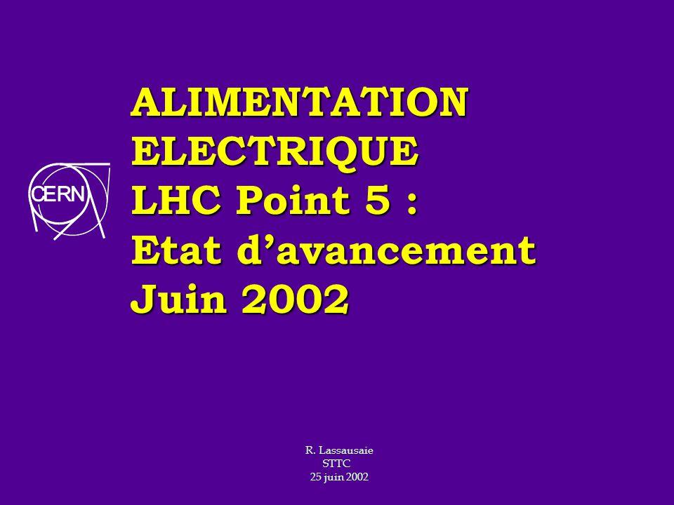 ALIMENTATION ELECTRIQUE LHC Point 5 : Etat davancement Juin 2002 R. Lassausaie STTC 25 juin 2002