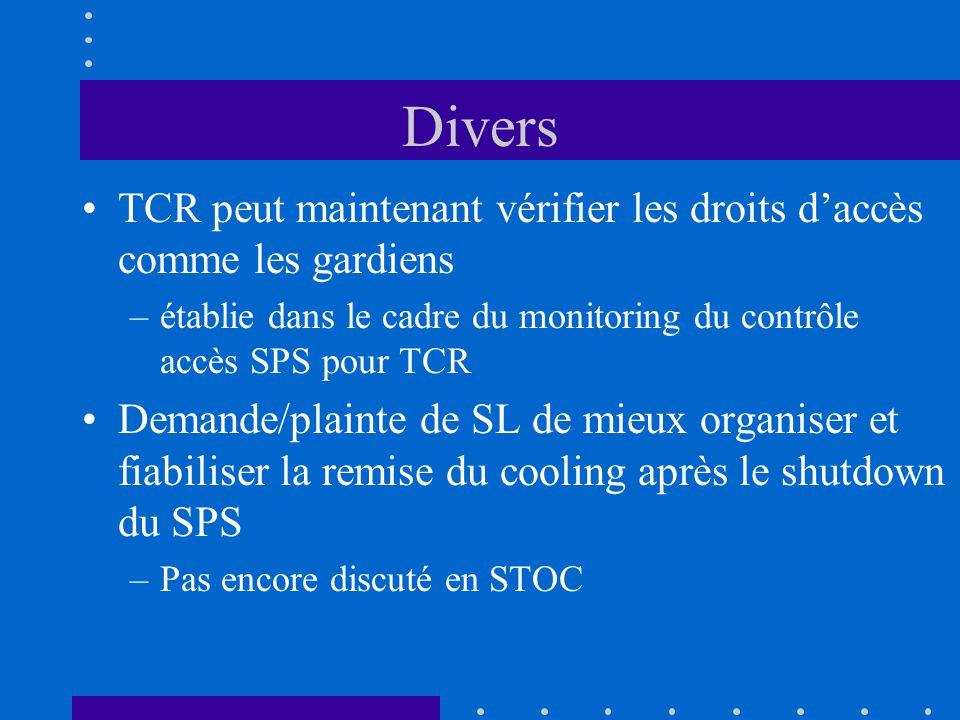 Divers TCR peut maintenant vérifier les droits daccès comme les gardiens –établie dans le cadre du monitoring du contrôle accès SPS pour TCR Demande/plainte de SL de mieux organiser et fiabiliser la remise du cooling après le shutdown du SPS –Pas encore discuté en STOC