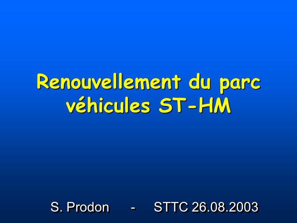 Renouvellement 2003 ProjetMontantUtilisationStatus Semi-remorque 25 t 30000 CHF Code LHC Transports en surface pour LHC Ouverture des offres le 20/08/2003 Semi-remorque télescopique 40 t – 18 m 150000 CHF Charges longues Réserve (possibilité de transport dun cryodipole) Retour des offres le 26/08/2003
