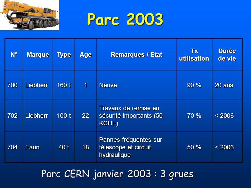 Stratégie moyen terme Privilégier la fiabilité pour linstallation du LHCPrivilégier la fiabilité pour linstallation du LHC Maintien dun parc CERN :Maintien dun parc CERN : –Possibilité de mise en œuvre immédiate –Longueur de câble suffisante pour intervention dans un puits Parc CERN réduit :Parc CERN réduit : –1 grue fort tonnage (> 100 t) –1 grue faible tonnage (< 40 t) avec possibilité dutilisation dans les halls Location extérieure pour autres besoinsLocation extérieure pour autres besoins Privilégier la fiabilité pour linstallation du LHCPrivilégier la fiabilité pour linstallation du LHC Maintien dun parc CERN :Maintien dun parc CERN : –Possibilité de mise en œuvre immédiate –Longueur de câble suffisante pour intervention dans un puits Parc CERN réduit :Parc CERN réduit : –1 grue fort tonnage (> 100 t) –1 grue faible tonnage (< 40 t) avec possibilité dutilisation dans les halls Location extérieure pour autres besoinsLocation extérieure pour autres besoins