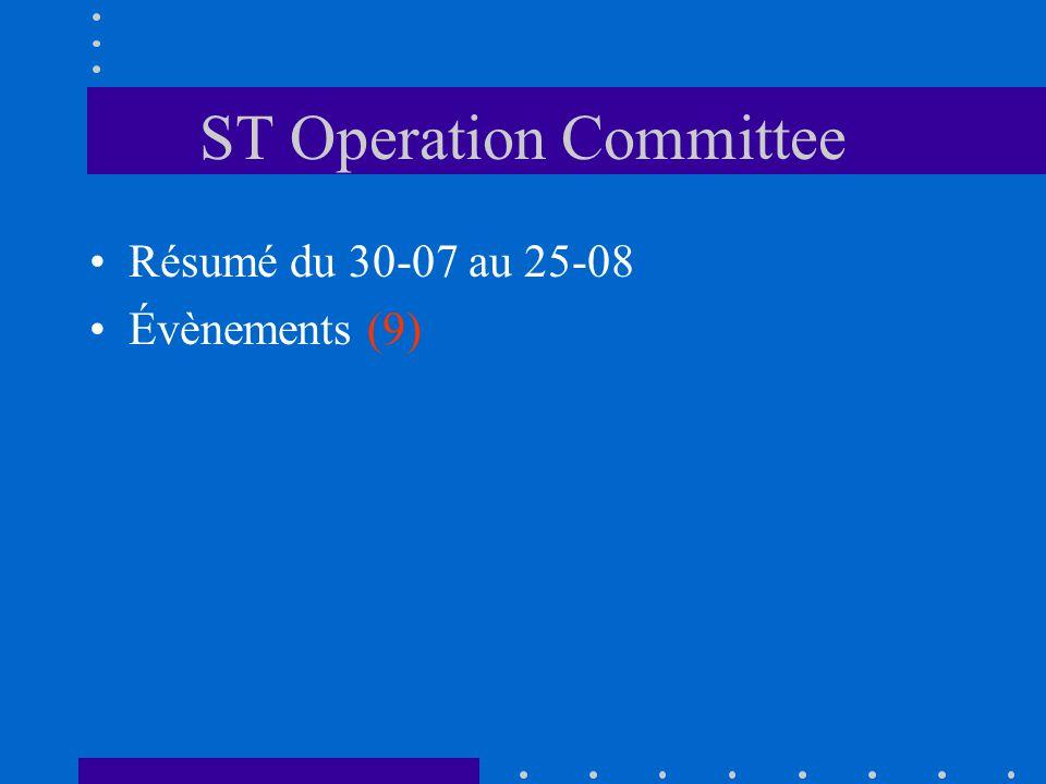 ST Operation Committee Résumé du 30-07 au 25-08 Évènements (9)