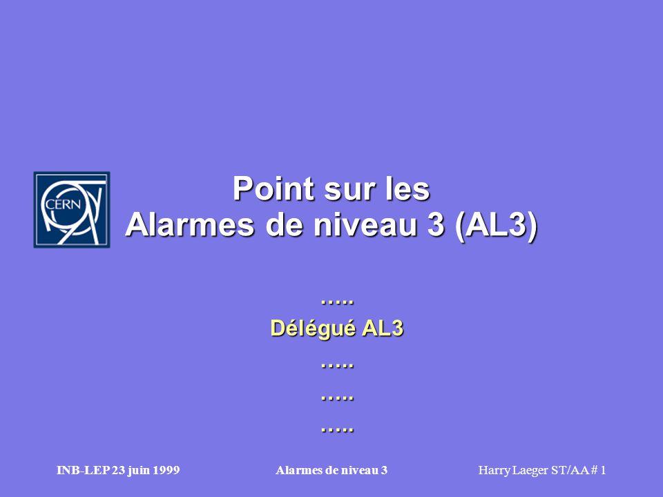 INB-LEP 23 juin 1999Alarmes de niveau 3Harry Laeger ST/AA # 1 Point sur les Alarmes de niveau 3 (AL3) …..