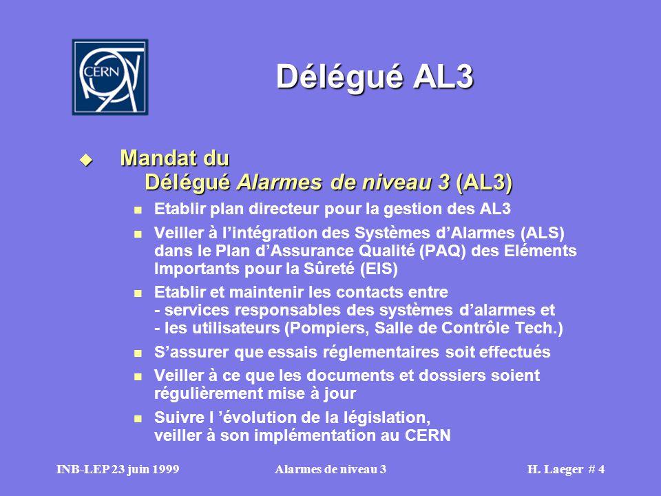 INB-LEP 23 juin 1999Alarmes de niveau 3H.