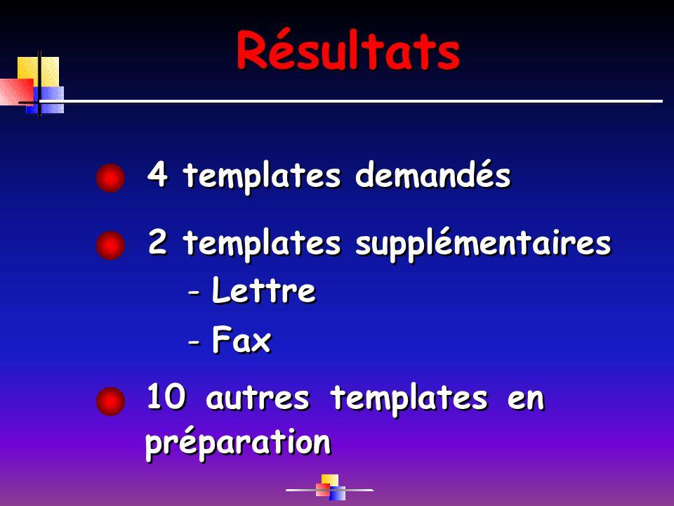 Résultats 10 autres templates en préparation 4 templates demandés 2 templates supplémentaires -Lettre -Fax -Lettre -Fax
