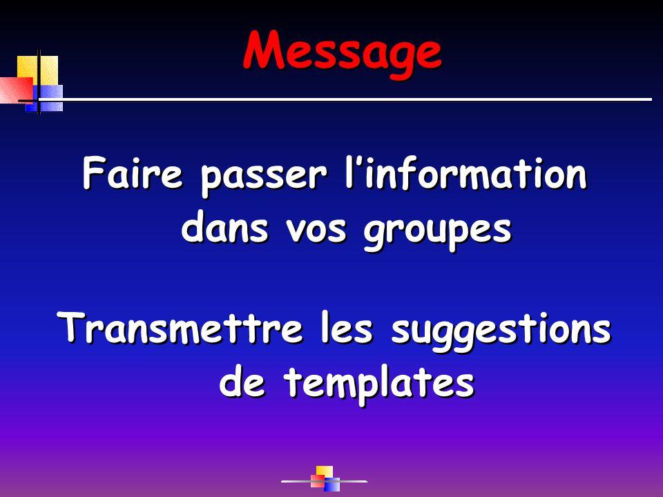 Message Faire passer linformation dans vos groupes Transmettre les suggestions de templates