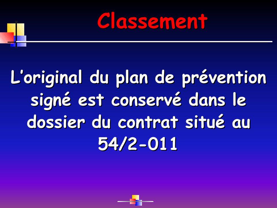 Classement Loriginal du plan de prévention signé est conservé dans le dossier du contrat situé au 54/2-011