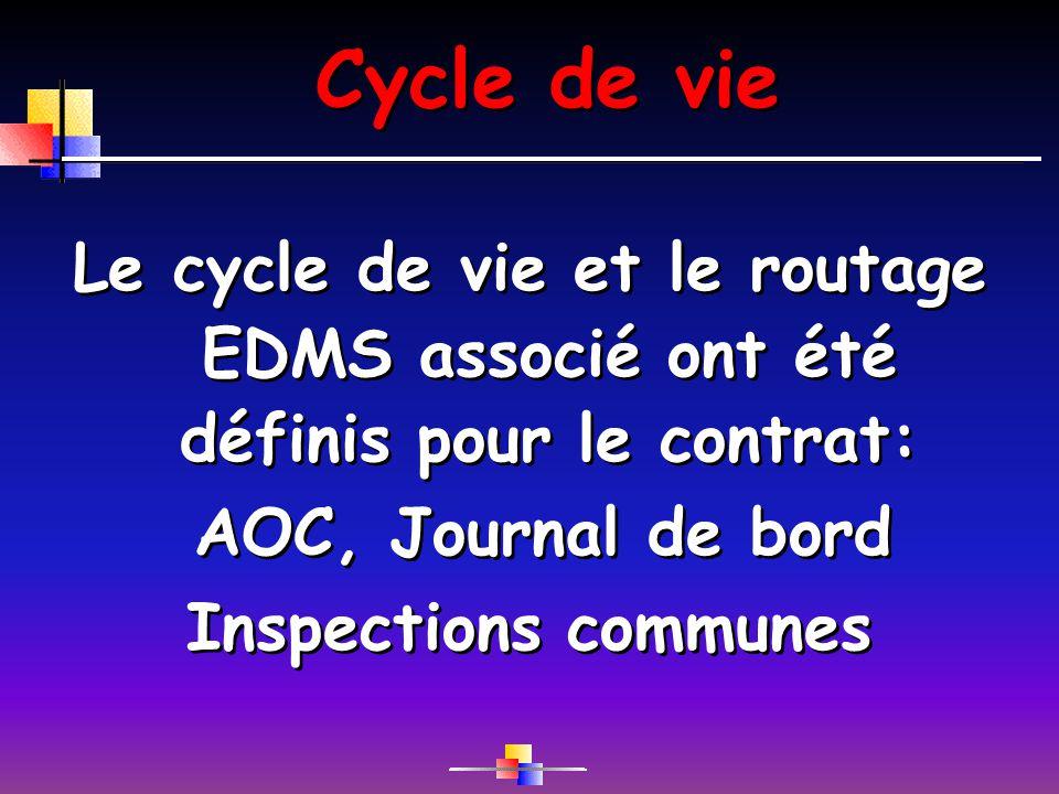 Cycle de vie Le cycle de vie et le routage EDMS associé ont été définis pour le contrat: AOC, Journal de bord Inspections communes Le cycle de vie et le routage EDMS associé ont été définis pour le contrat: AOC, Journal de bord Inspections communes