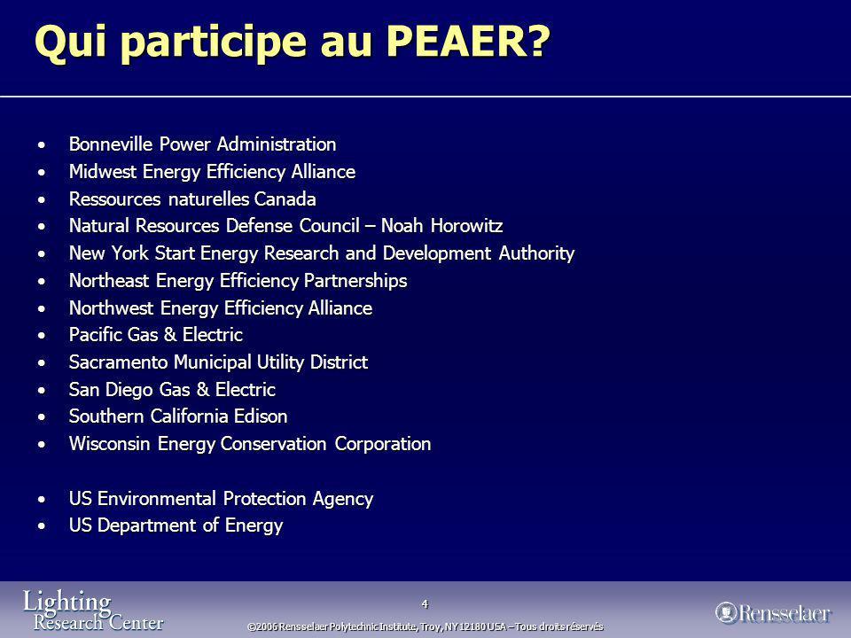 4 ©2006 Rensselaer Polytechnic Institute, Troy, NY 12180 USA – Tous droits réservés Qui participe au PEAER.