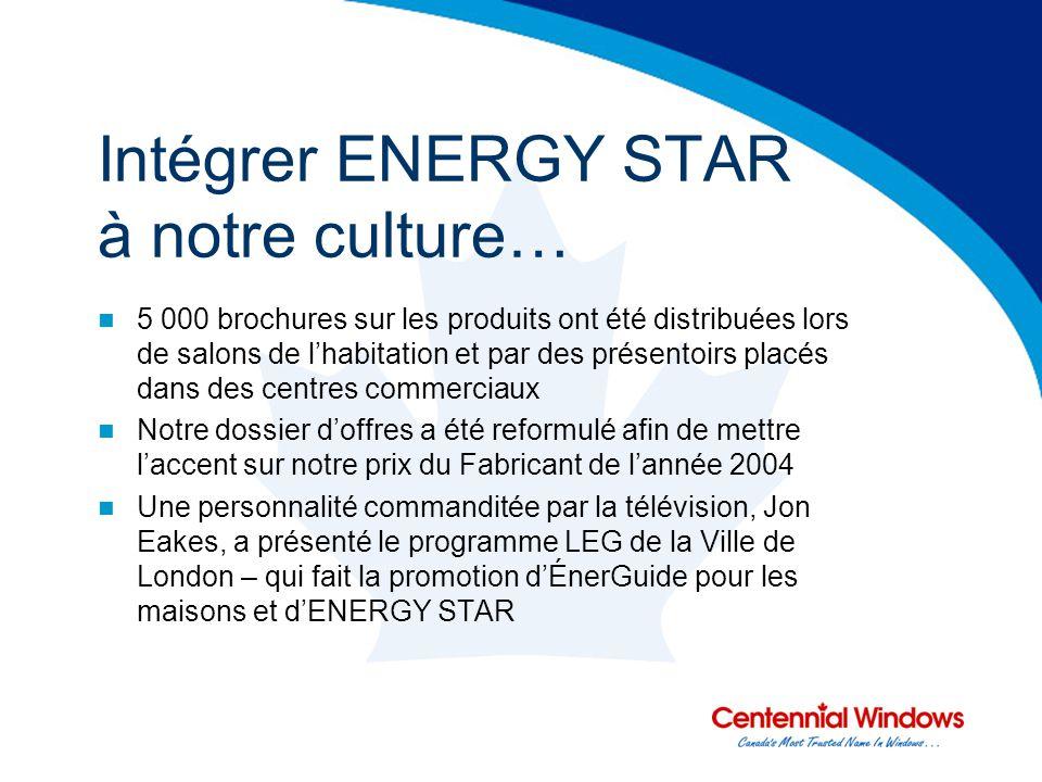Intégrer ENERGY STAR à notre culture… 5 000 brochures sur les produits ont été distribuées lors de salons de lhabitation et par des présentoirs placés dans des centres commerciaux Notre dossier doffres a été reformulé afin de mettre laccent sur notre prix du Fabricant de lannée 2004 Une personnalité commanditée par la télévision, Jon Eakes, a présenté le programme LEG de la Ville de London – qui fait la promotion dÉnerGuide pour les maisons et dENERGY STAR