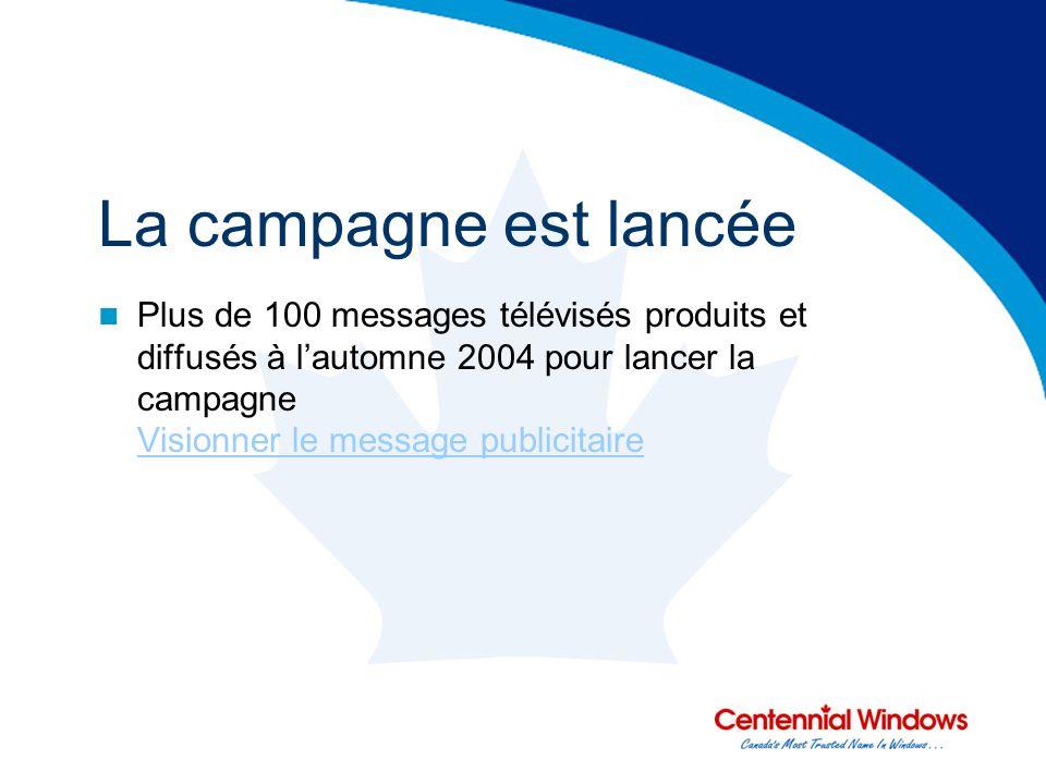 La campagne est lancée Plus de 100 messages télévisés produits et diffusés à lautomne 2004 pour lancer la campagne Visionner le message publicitaire Visionner le message publicitaire