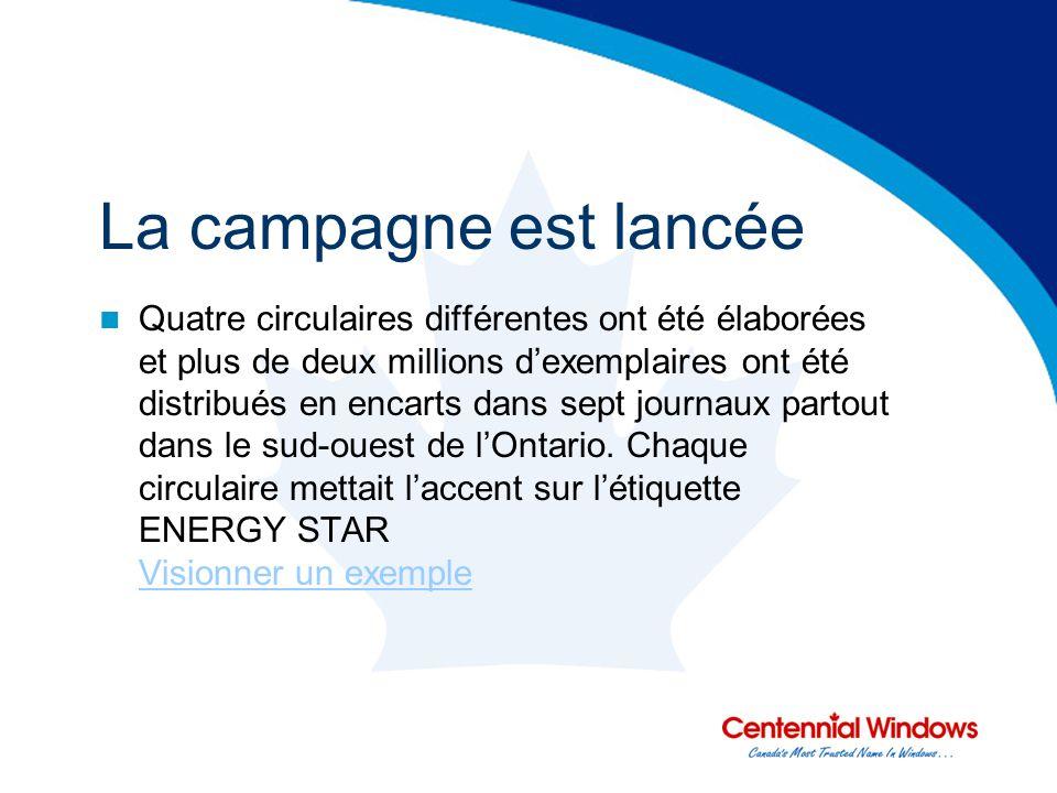 La campagne est lancée Quatre circulaires différentes ont été élaborées et plus de deux millions dexemplaires ont été distribués en encarts dans sept journaux partout dans le sud-ouest de lOntario.