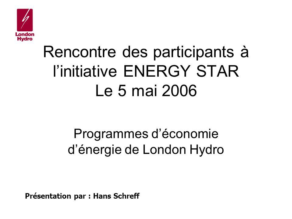 Rencontre des participants à linitiative ENERGY STAR Le 5 mai 2006 Programmes déconomie dénergie de London Hydro Présentation par : Hans Schreff