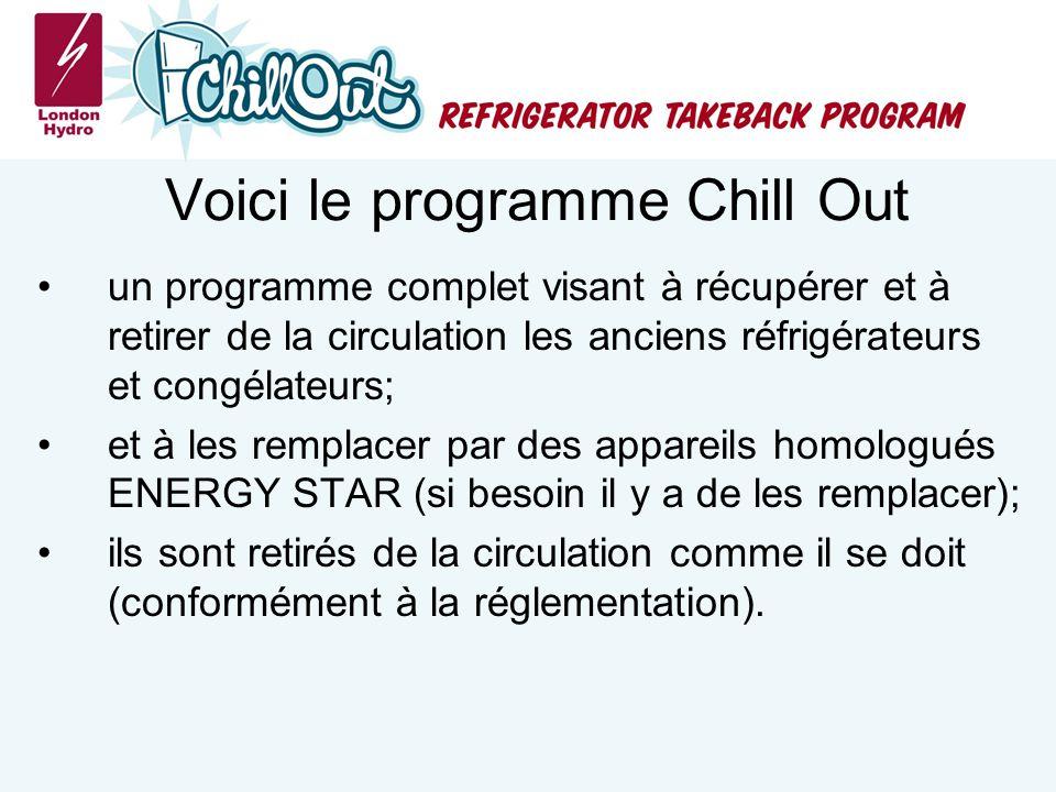 Voici le programme Chill Out un programme complet visant à récupérer et à retirer de la circulation les anciens réfrigérateurs et congélateurs; et à les remplacer par des appareils homologués ENERGY STAR (si besoin il y a de les remplacer); ils sont retirés de la circulation comme il se doit (conformément à la réglementation).