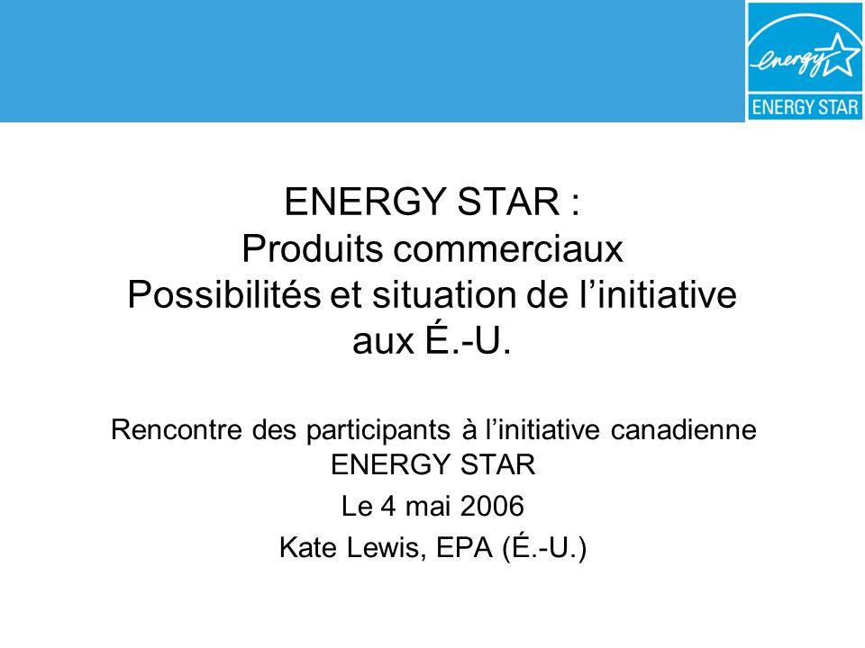 ENERGY STAR : Produits commerciaux Possibilités et situation de linitiative aux É.-U. Rencontre des participants à linitiative canadienne ENERGY STAR