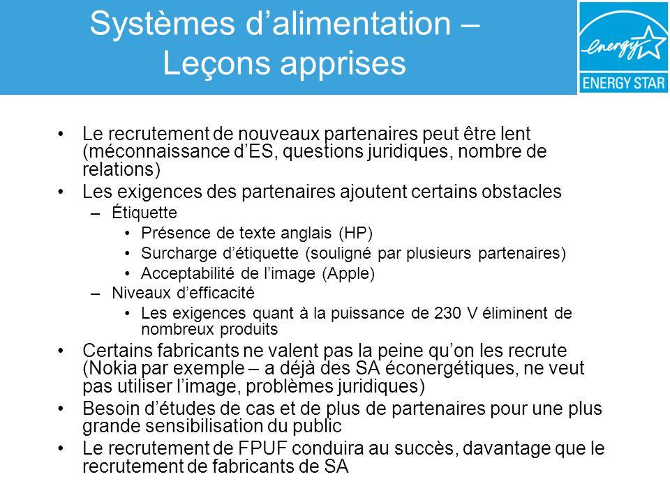 Systèmes dalimentation – Leçons apprises Le recrutement de nouveaux partenaires peut être lent (méconnaissance dES, questions juridiques, nombre de re