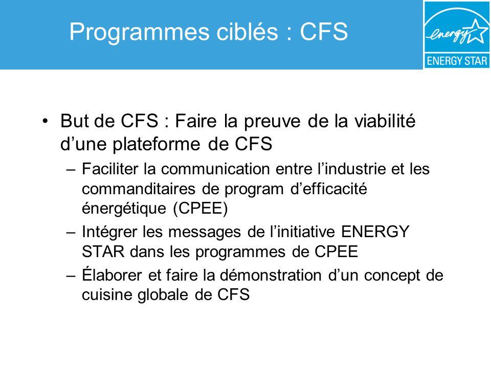Programmes ciblés : CFS But de CFS : Faire la preuve de la viabilité dune plateforme de CFS –Faciliter la communication entre lindustrie et les comman