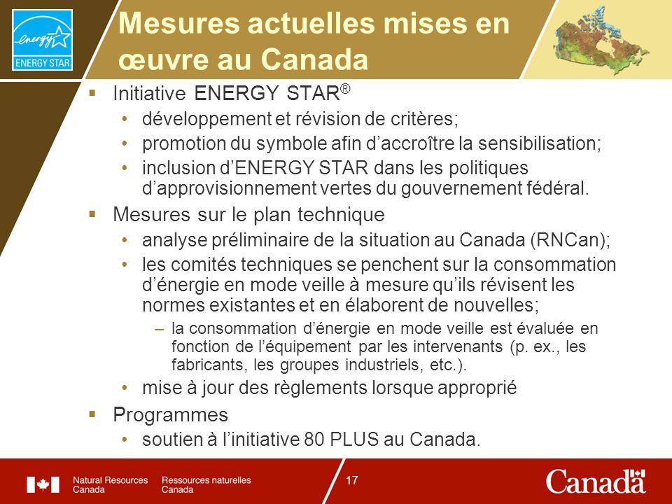 17 Mesures actuelles mises en œuvre au Canada Initiative ENERGY STAR ® développement et révision de critères; promotion du symbole afin daccroître la