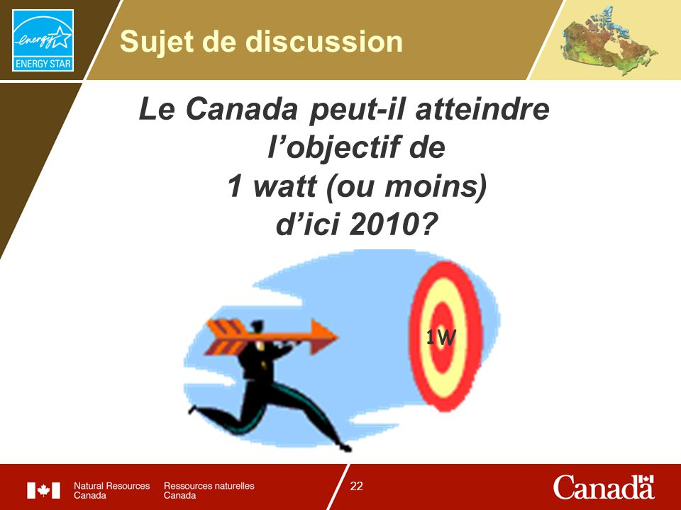 22 Sujet de discussion Le Canada peut-il atteindre lobjectif de 1 watt (ou moins) dici 2010? 1W