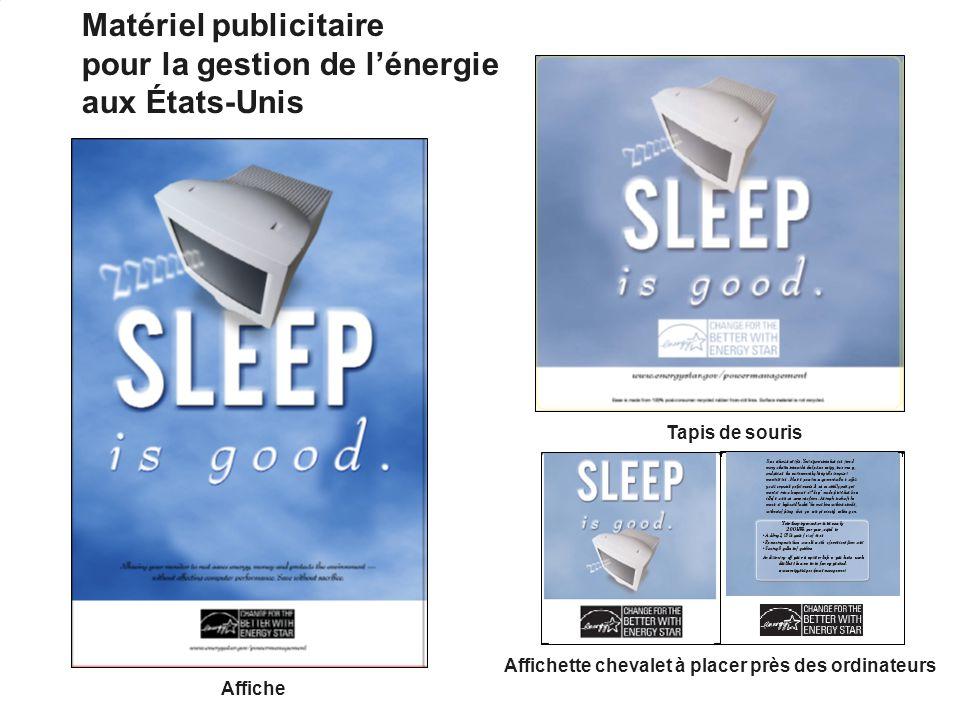27 Affiche Tapis de souris Affichette chevalet à placer près des ordinateurs Matériel publicitaire pour la gestion de lénergie aux États-Unis