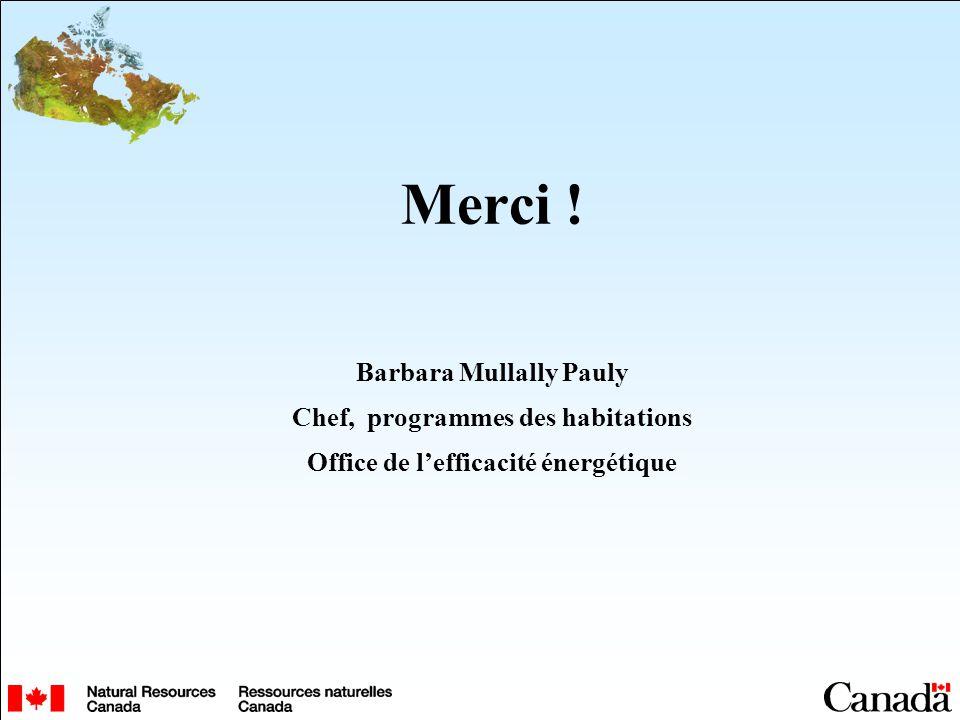 Merci ! Barbara Mullally Pauly Chef, programmes des habitations Office de lefficacité énergétique