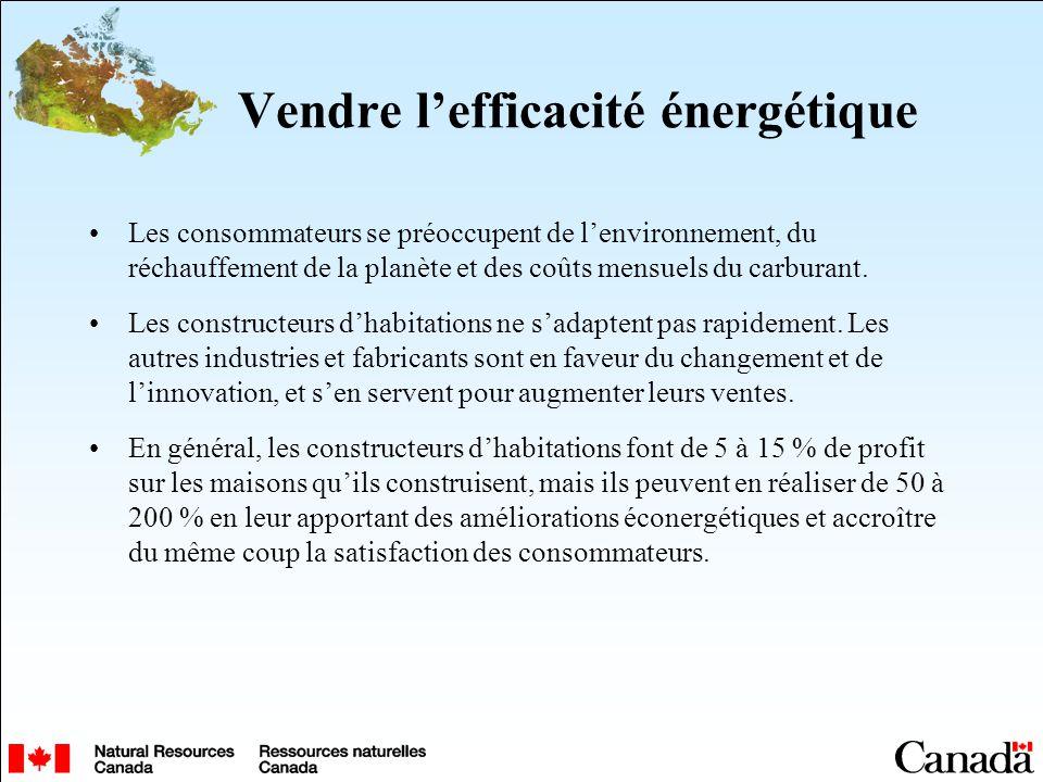 Vendre lefficacité énergétique Les consommateurs se préoccupent de lenvironnement, du réchauffement de la planète et des coûts mensuels du carburant.