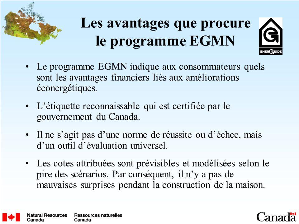 Les avantages que procure le programme EGMN Le programme EGMN indique aux consommateurs quels sont les avantages financiers liés aux améliorations éco